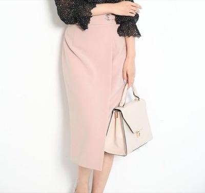 JUSGLITTY(ジャスグリッティー)麻調サイドデザインタイトスカート
