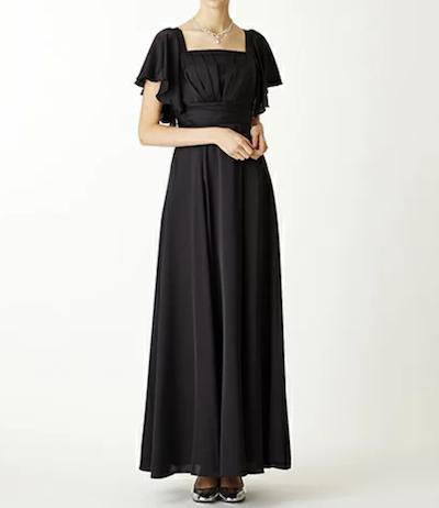 AIMERサテンブラックロングドレス 伴奏用ロングドレス