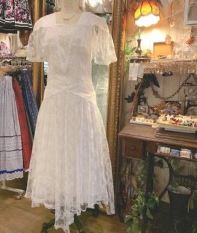 Comyu総レースホワイトワンピースドレス