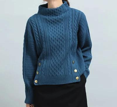 ViS(ビス)裾メタル釦開きケーブル柄プルオーバー
