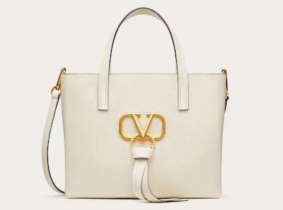 VALENTINOE/W Vリング グレイン スモール ショッピングバッグ