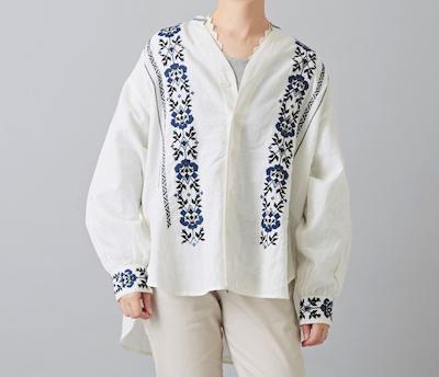 CUBE SUGARインド 綿麻スラブ×刺繍 Vネック シャツ