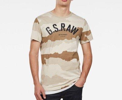 G-Star RAW(ジースターロゥ)Tシャツ ストレートフィット カモフラージュ 丸首 半袖 Graphic 13 T-Shirt S/S