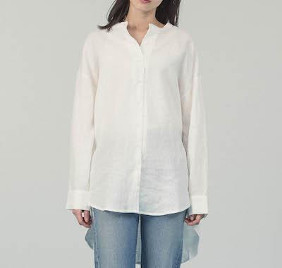 Allumerリネンバンドカラーロングシャツ