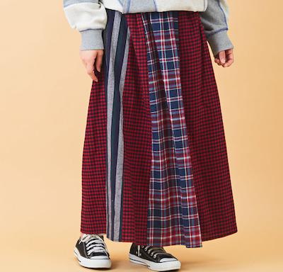 CUBE SUGARミックスチェック 切替 ギャザースカート