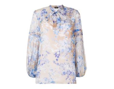 Les Copainspussy bow floral blouse