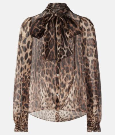 Dolce & Gabbanaリボンタイシャツ オーガンザ レオパードプリント