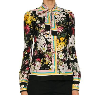 Dolce & GabbanaFloral Bouquet Silk Twill Tie-Neck Blouse