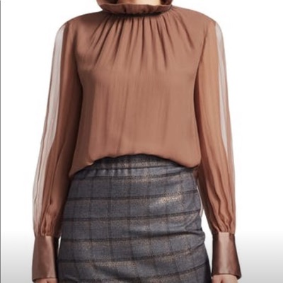 Brunello Cucinellilight brown silk blouse
