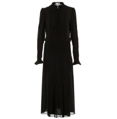 SAINT LAURENT PARIS/イヴ サンローラン ドレス NOIR Saint laurent silk georgette long dress