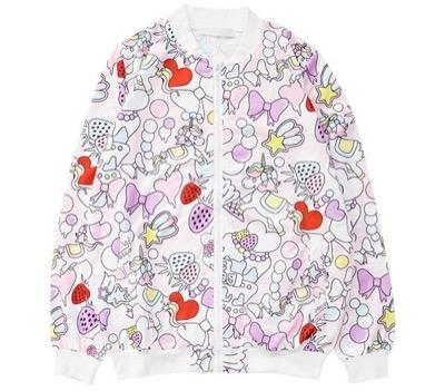ACDCRAGケーキブルゾン ピンク ゆめかわいい 原宿系 ファッション レディース パステルカラー ユニコーン 青文字系 ブルゾン