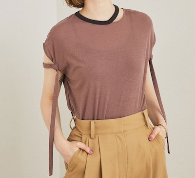 PUBLIC TOKYOストリングショルダーTシャツ