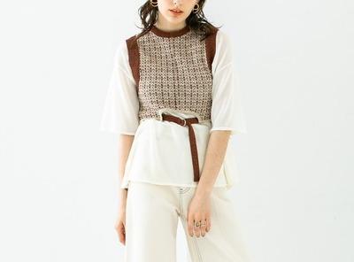 PUBLIC TOKYOTシャツ ツイードレイヤードシアーニット