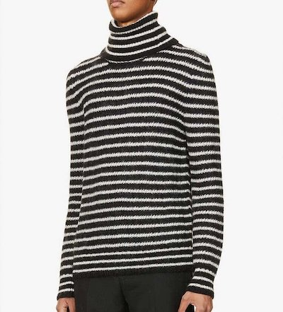 SAINT LAURENT(イヴ サンローラン)Striped turtleneck mohair-blend jumper