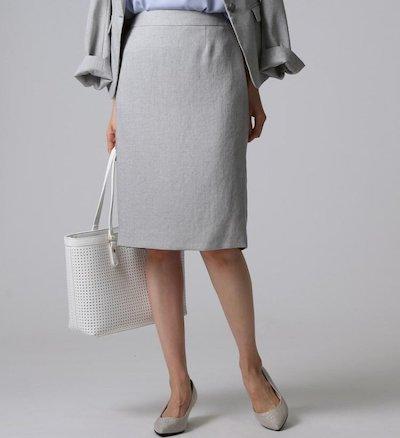 UNTITLED(アンタイトル)【洗える・抗菌防臭】ドレッサーアーステックリネン タイトスカート