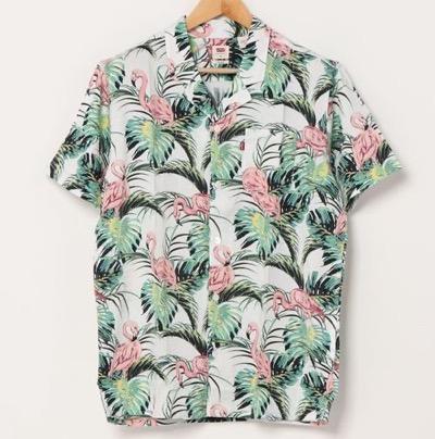 Levi's(リーバイス) シャツ ブラウス キューバシャツ FLAMINGO LEAF PRINT CLOUD D