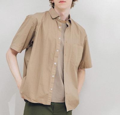 PUBLIC TOKYOガーメントダイハーフスリーブレギュラーシャツ