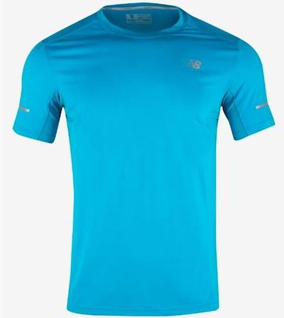 New Balance Men Core Run Tee Shirts Athletic Blue Top Tee GYM Jersey 8BB63150