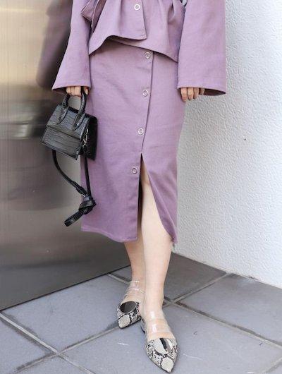 MURUA(ムルーア)シルバーボタンタイトスカート
