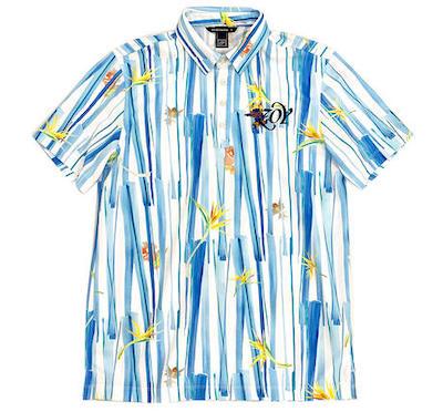 ZOYどんぶらこストライププリント MENS 半袖ポロシャツ