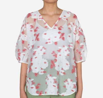 Greed International Peony Jacquard V-neck Big Blouse