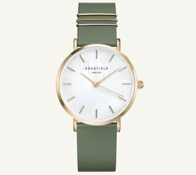 ROSEFIELD leather watch The West Village Rosefield Product information The West Village Olive Green Gold 33mm