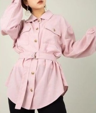 CECIL McBEE(セシルマクビー)ベルト付きリネンライクCPOシャツ