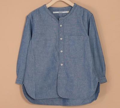 OMNIGOD(オムニゴッド)シャンブレー 7分袖スタンドカラーシャツ