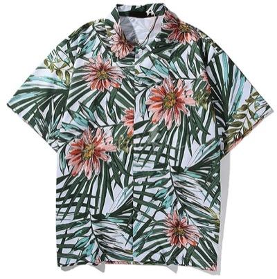beautifulhaloハワイオールオーバーフラワーリーフプリントショートスリーブポイントカラーボタンダウンルーズフィットシャツトップ