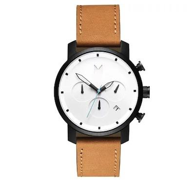 MVMT メンズ 腕時計 クロノグラフ【Chronograph White Black Tan Leather Strap Watch 40mm】Tan