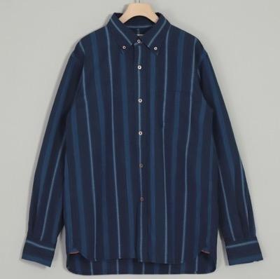 OMNIGOD(オムニゴッド)インディゴハケメストライプ B Dシャツ