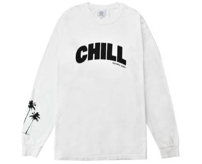 YouthFULSURFCHILL Palm tree Pigment dyed L/S Tee / White