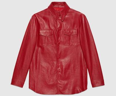 GUCCILeather shirt with point collar