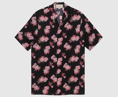 GUCCI(グッチ)ピオニー プリント シルク ボウリングシャツ