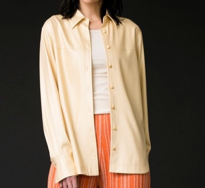 MAISON SPECIAL(メゾンスペシャル)レザーライクオーバーシャツ
