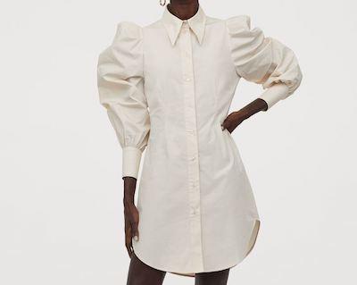 H&Mパフスリーブシャツドレス
