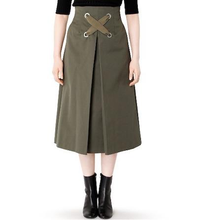 LE CIEL BLEU(ルシェルブルー)スカート Big Lace Up Flow Skirt