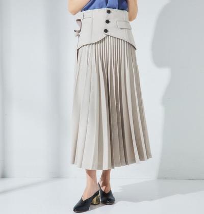 UNITED TOKYO麻調コルセットプリーツスカート
