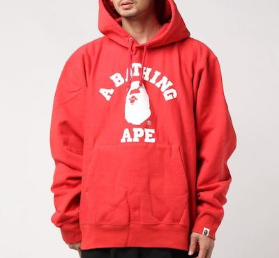 A BATHING APEパーカー RELAXED CLASSIC COLLEGE PULLOVER HOODIE