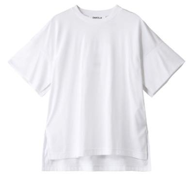 ENFOLD(エンフォルド)スビン天竺 スリットスリーブTシャツ