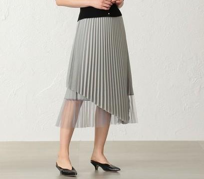 CAST:チュールコンビラップアシンメトリースカート