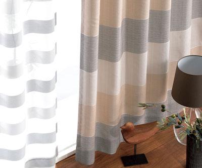 カーテンじゅうたん王国ナチュラルボーダー柄の形状記憶付きオーダーカーテン(ベージュ)