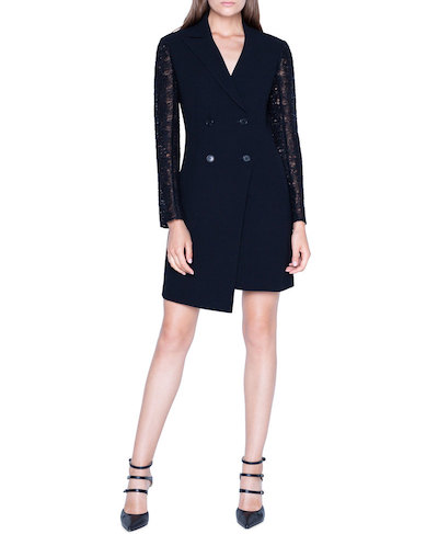 Akris(アクリス) レディース ワンピース トップス Double-Breasted Dress w/ St. Gallen Embroidered Sleeves BLACK