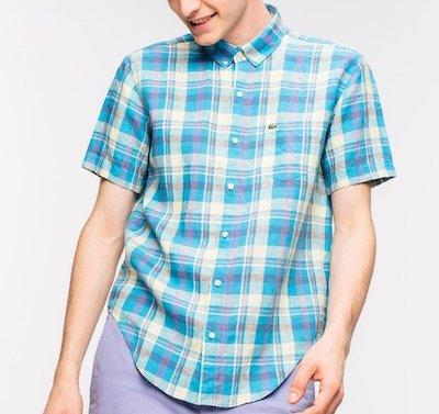 LACOSTE(ラコステ)リネンチェックショートスリーブボタンダウンシャツ