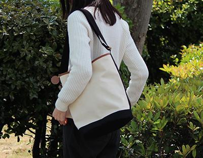 cluetoおさんぽショルダーM :生成×クロ×Pキャメル(倉敷帆布ショルダーバッグ)