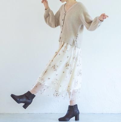 WILLSELECTIONドットチュール刺繍フレアスカート