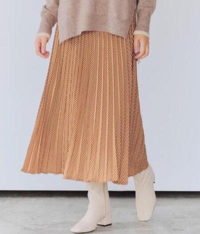 YECCA VECCA【2020秋冬】ジオメ柄ラインプリーツスカート