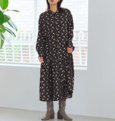 YECCA VECCA2020秋冬】レトロ花柄シャツワンピース