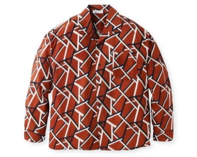 tk.TAKEO KIKUCHI(ティーケー タケオキクチ) 幾何学模様長袖開襟シャツ