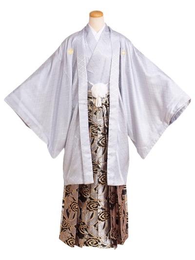 RENCA卒業式成人式男性用袴48-48グレー|黒×金銀/龍